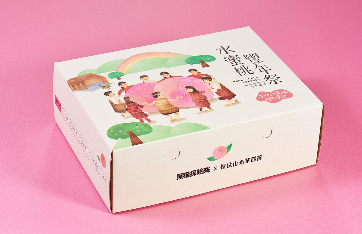 水蜜桃丰年祭礼盒插画包装设计图片
